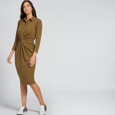 Knot Front Shirt Dress  DARK KHAKI  hi-res