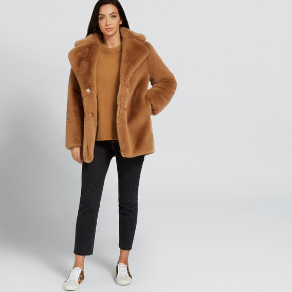 Boxy Fur Coat  GINGERBREAD  hi-res