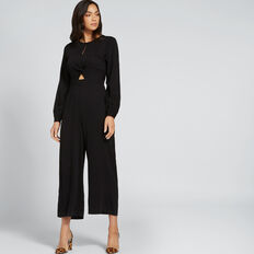 Twist Front Jumpsuit  BLACK  hi-res
