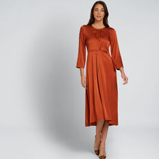 Twist Detail Midi Dress  BURNT TERRACOTTA  hi-res