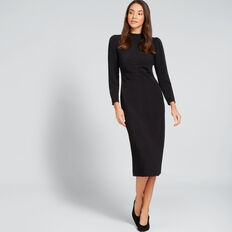 Jacquard Drape Sleeve Dress  BLACK  hi-res