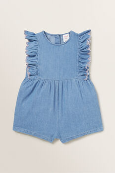 Chambray Playsuit  ICE BLUE WASH  hi-res