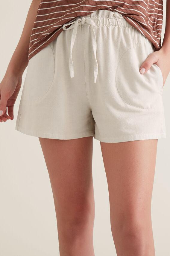 Paper Bag Tie Up Shorts  LIGHT TAUPE  hi-res