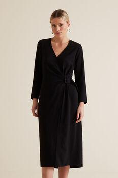 Buckle Wrap Dress  BLACK  hi-res