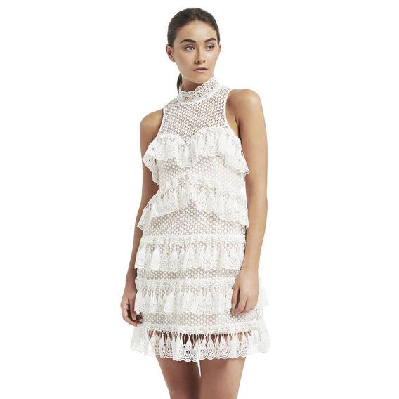 Lace Tier Dress  WHITE  hi-res