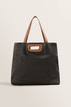 Jules Double Handle Tote  BLACK/TAN  hi-res