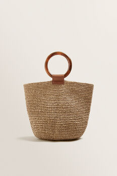 Ring Handle Woven Tote  NATURAL  hi-res