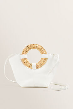 Rattan Handle Mini Tote  WHITE  hi-res