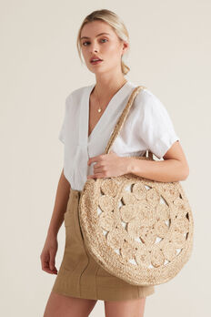 Round Jute Tote  NATURAL  hi-res