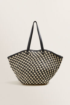 Two Tone Straw Tote  BLACK/NATURAL  hi-res