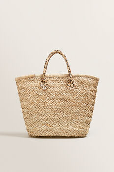 Ocelot Detail Straw Tote  NATURAL OCELOT  hi-res