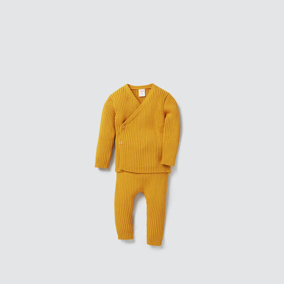 Rib Knit Wrap Cardigan  GOLDEN MUSTARD  hi-res