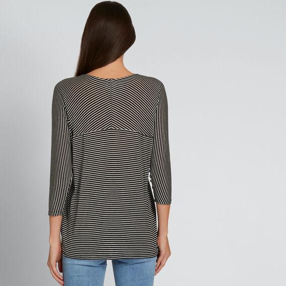 Slouchy 3/4 Sleeve Top  BLACK/CREAM STRIPE  hi-res