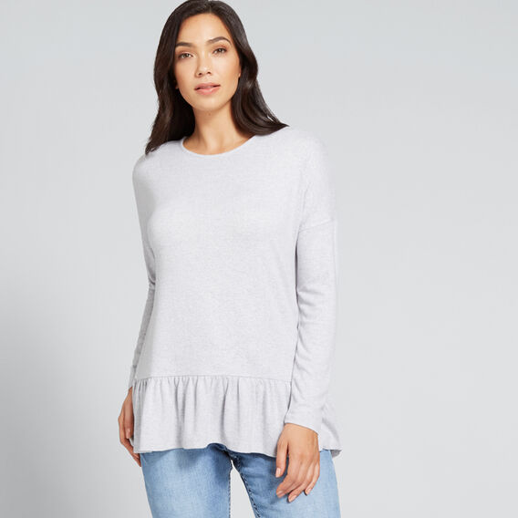 Frill Hem Top  LIGHT ASH MARLE  hi-res