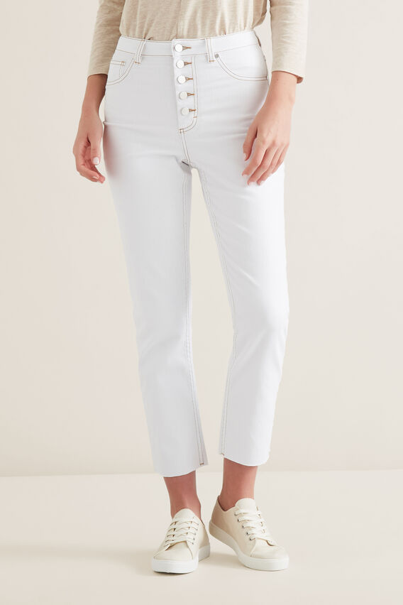 Button Through Jean  WHITE  hi-res