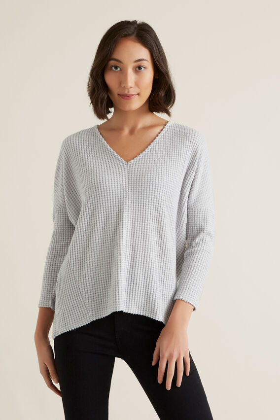 V Neck Rib Top  MID GREY MARLE  hi-res