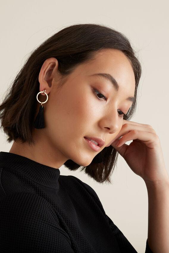 Ring Tassel Earring  BLACK  hi-res