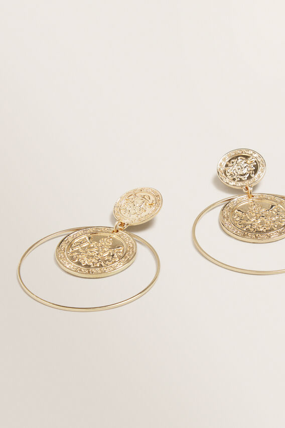 Coin Stud Hoops  GOLD  hi-res
