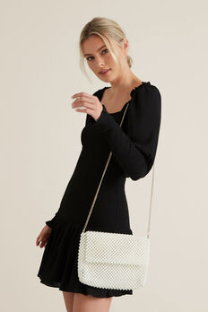 Beaded Fold Over Clutch  PEARL  hi-res