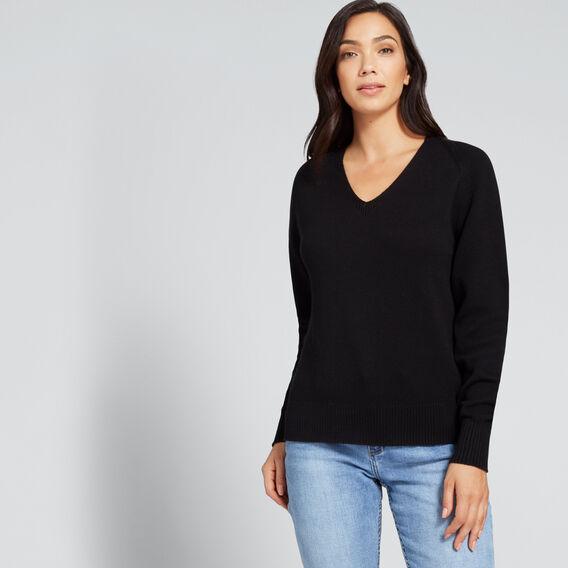 V Neck Cosy Sweater  BLACK  hi-res