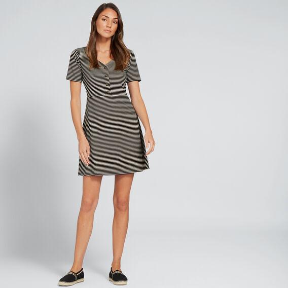 Button-Up Jersey Dress  OYSTER CREAM STRIPE  hi-res