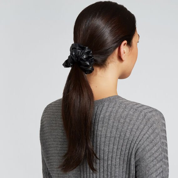 Leather Look Scrunchie  BLACK  hi-res