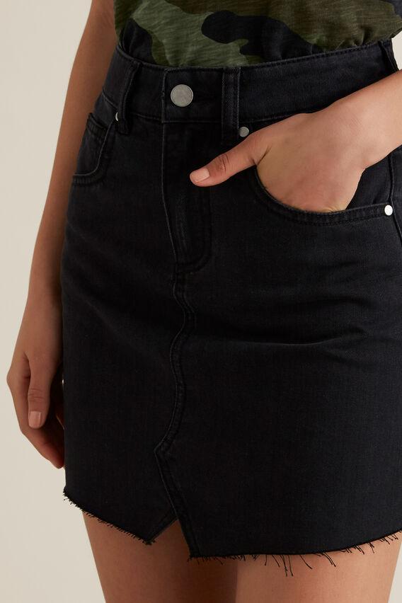 Rework Denim Skirt  WASHED BLACK  hi-res