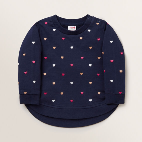 Heart Embroidered Windcheater  NAVY  hi-res