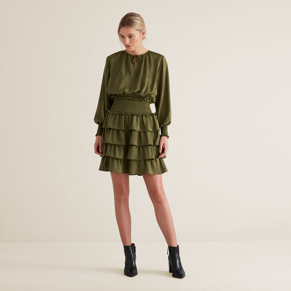 Tiered Frill Dress  RICH OLIVE  hi-res