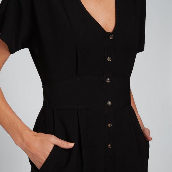 Button Up Romper  BLACK  hi-res
