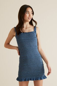 Shirred Denim Dress  MID INDIGO  hi-res
