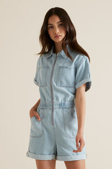 Denim Utility Playsuit  BLEACHED DENIM  hi-res