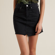 Rework Denim Skirt  WASHED BLACK  hi-res