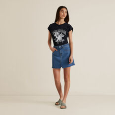 Rework Denim Skirt  MID INDIGO  hi-res