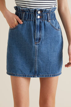 Paperbag Denim Skirt  MID INDIGO  hi-res