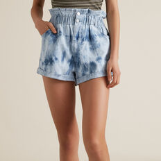 Tie Dye Denim Short  MID INDIGO  hi-res