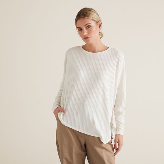 Ribbed Asymmetrical Sweater  FRENCH VANILLA  hi-res