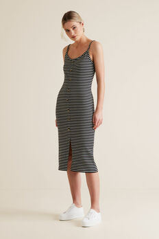 Ribbed Tank Dress  BLACK STRIPE  hi-res