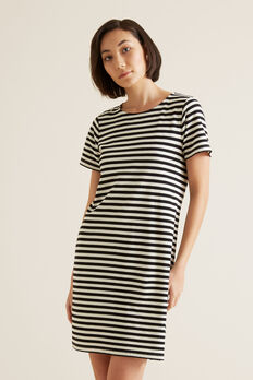 Stripe Pique Dress  BLACK STRIPE  hi-res