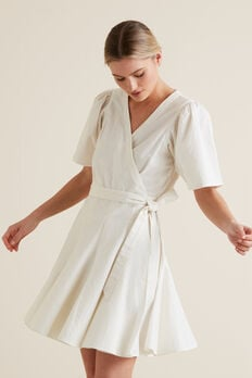 Mini Fluted Hem Dress  CLOUD CREAM  hi-res