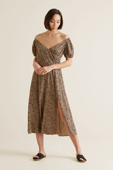 Off Shoulder Animal Dress  OCELOT  hi-res