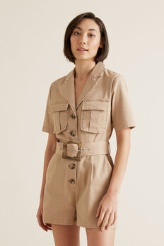 Utility Belted Playsuit  TUSCAN BROWN  hi-res