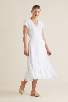 Wrap Front Tiered Dress  WHISPER WHITE  hi-res