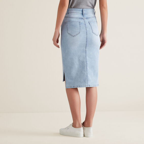 Hi-Lo Denim Midi Skirt  PASTEL DENIM WASH  hi-res