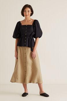 Linen Flowing Skirt  WARM TAN  hi-res