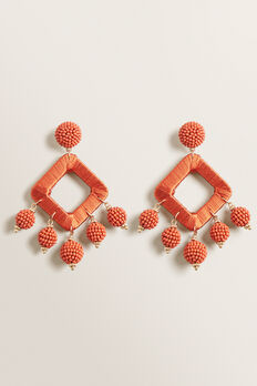 Beaded Pom Pom Earring  SUNBURNT ORANGE  hi-res