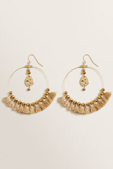 Mini Tassel Hoops  NATURAL  hi-res