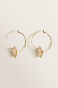 Flower Hoop Earrings  GOLD  hi-res