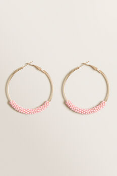 Beaded Hoops  PINK  hi-res
