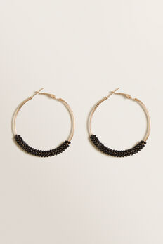 Beaded Hoops  BLACK  hi-res